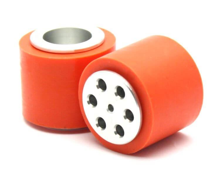 ATOM3734 ล้ออะลูมิเนียมพร้อมยางซิลิโคนสีส้มขนาดเส้นผ่านศูนย์กลาง 37 มม.