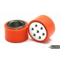 SLT20P ล้อเหล็กกล้าพร้อมยางซิลิโคนสีส้มขนาดเส้นผ่านศูนย์กลาง 33 มม.